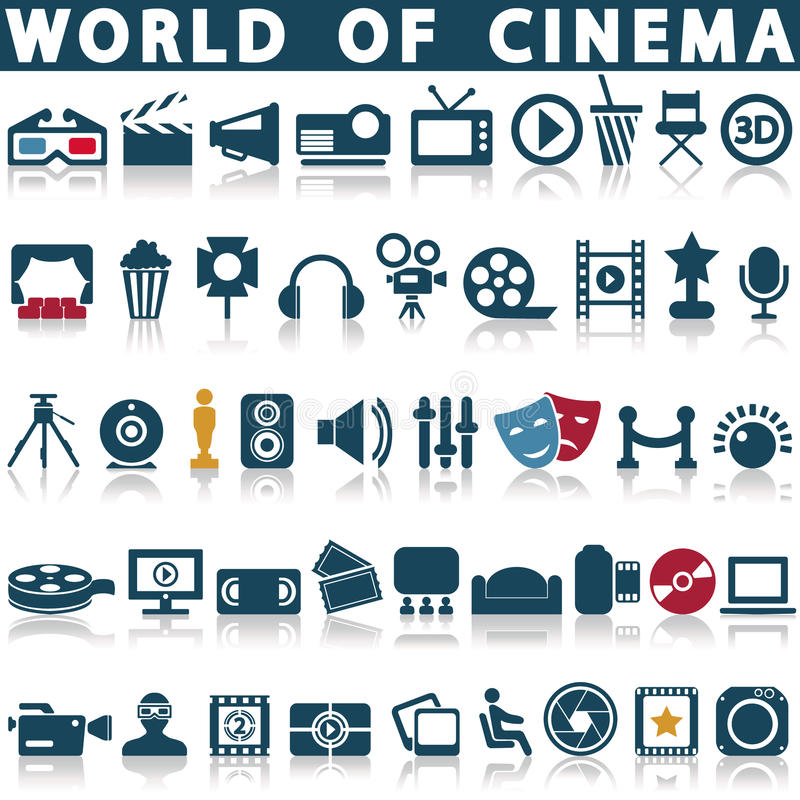 Cinema, film and movie icons. Vector icon set vector illustration