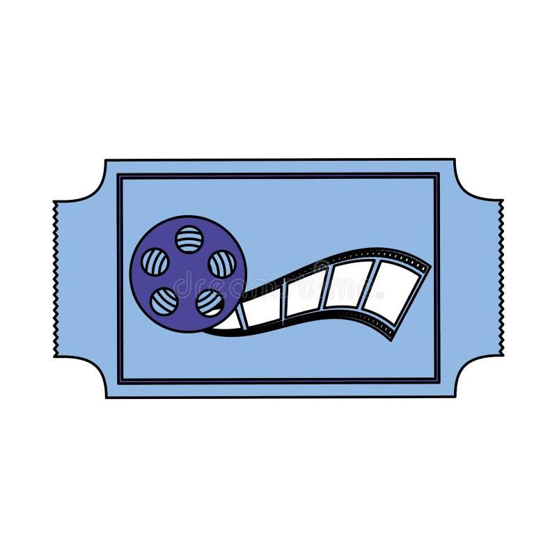 Cinema film movie. Ticket and reel strip cinema film movie vector illustration stock illustration