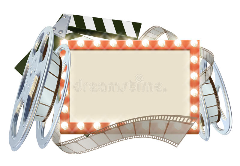 Cinema Film Sign. Movie cinema film sign with light bulbs sign clapperboard and film reel royalty free illustration