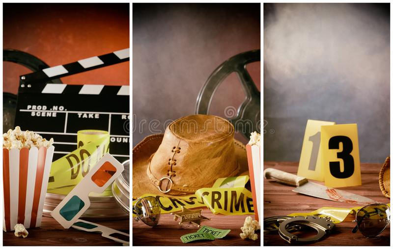 Cinema film themed collage with movie props stock photos
