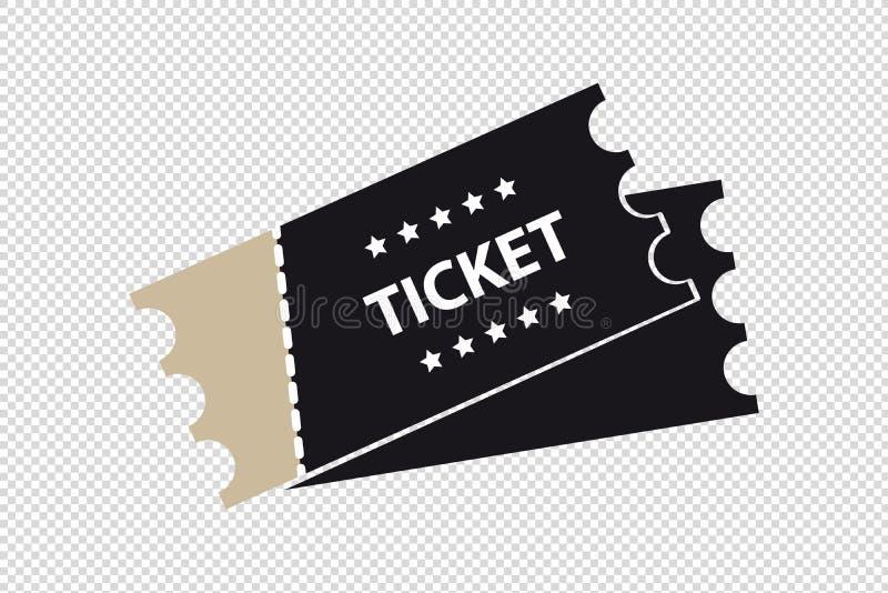 Cinema, filme, ícone do bilhete do concerto - ilustração do vetor - isolado no fundo transparente ilustração stock