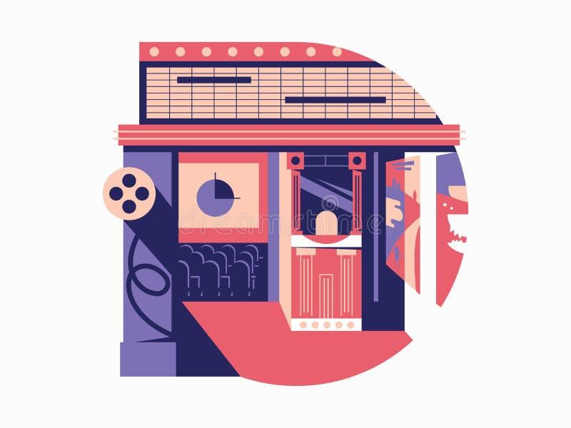 Cinema flat concept stock illustration