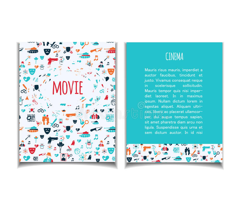Cinema flyer doodle. Cinema vector template set. Movie genre theme: action, romance, comedy, drama, detective, horror, fantasy. Colored illustration for posters royalty free illustration