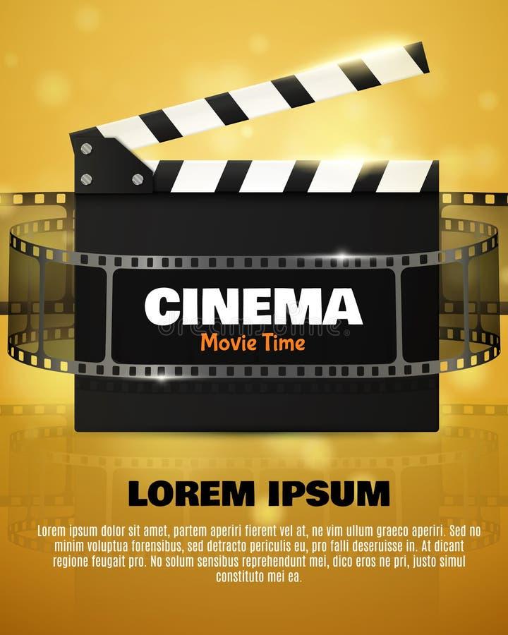 Cinema Flyer Or Poster. Vector Illustration. Film festival template. Cinema Flyer Or Poster With Movie Reel And Clapper Board. Vector Illustration Of Film royalty free illustration