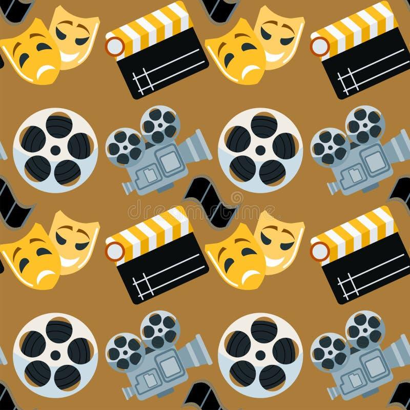 Cinema genre cinematography seamless pattern background flat entertainment movie production vector illustration. stock illustration