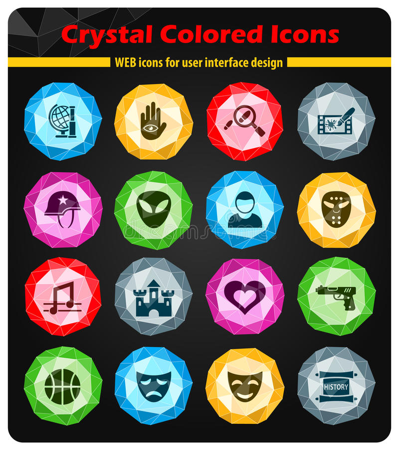 Cinema genre icon set. Cinema genre crystal color icons for your design stock illustration