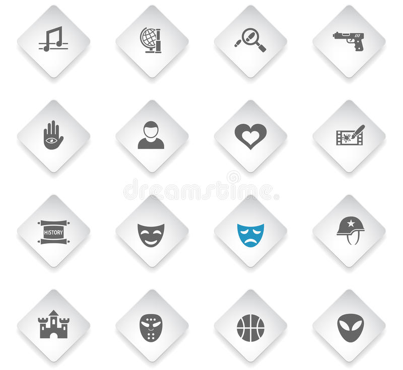 Cinema genre icon set. Cinema genre flat web icons for user interface design vector illustration