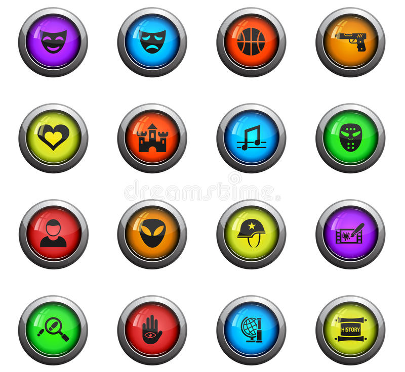 Cinema genre icon set. Cinema genre icons on color round glass buttons for your design stock illustration