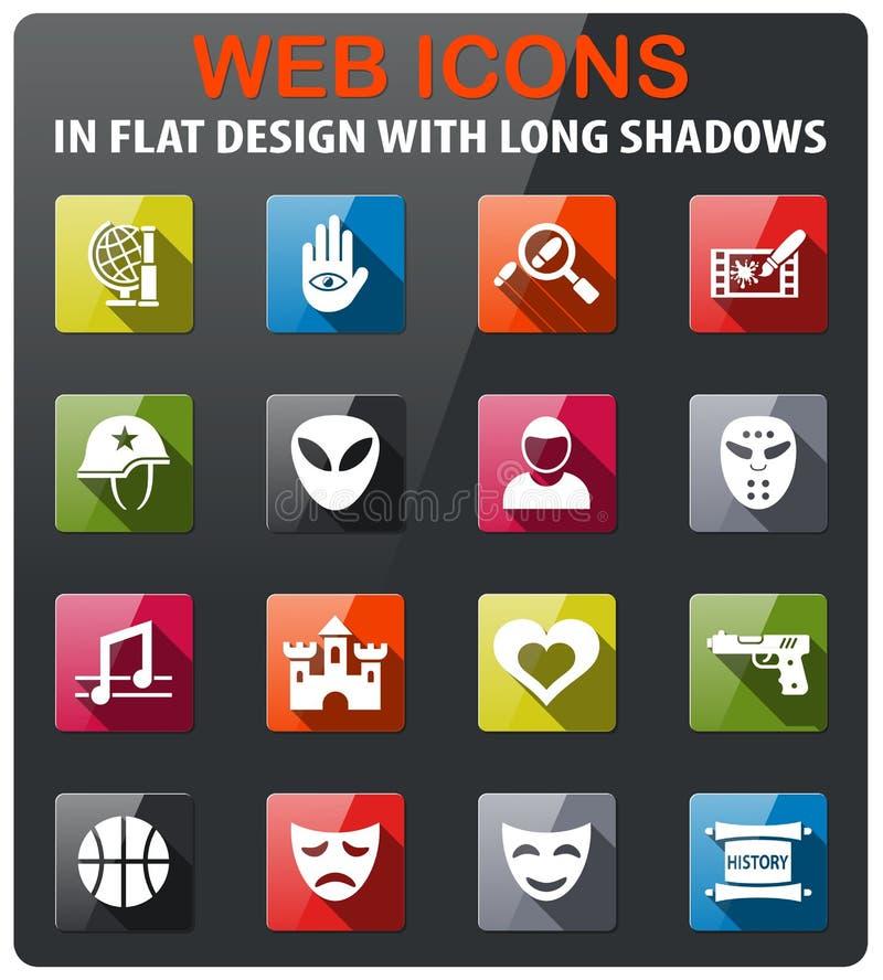 Cinema genre icon set. Cinema genre icons set in flat design with long shadow royalty free illustration