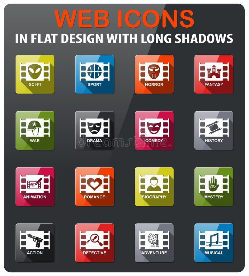 Cinema genre icon set. Cinema genre icons set in flat design with long shadow stock illustration