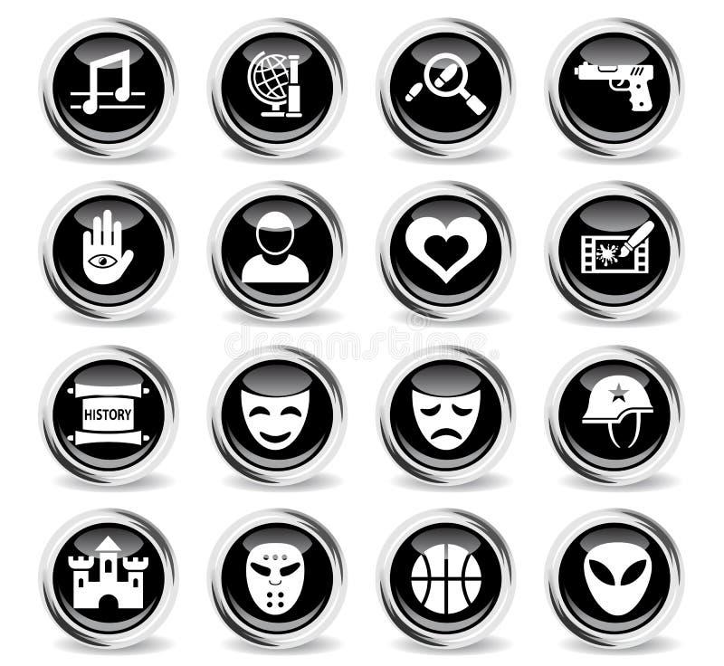 Cinema genre icon set. Cinema genre icons on stylish round chromed buttons royalty free illustration