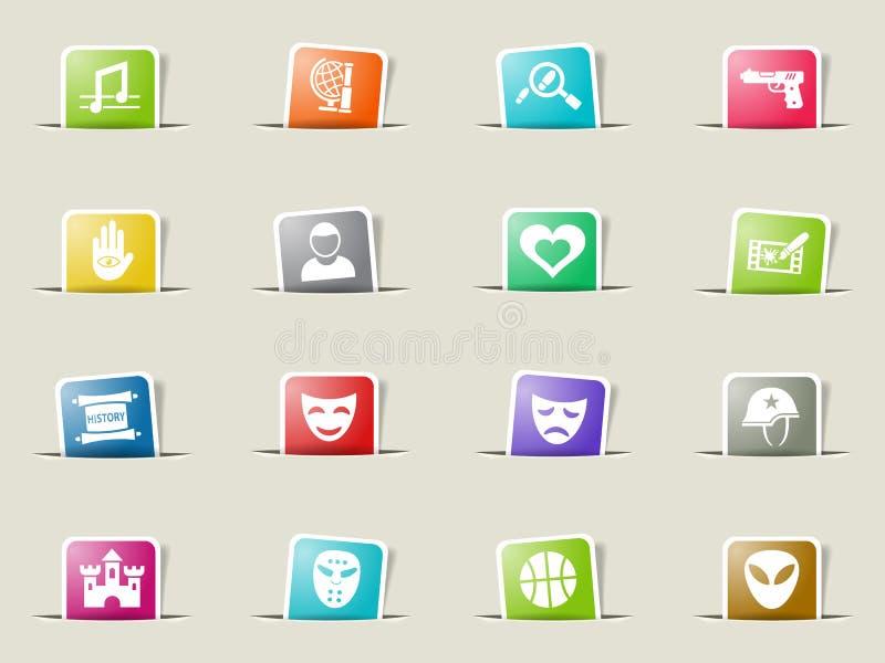 Cinema genre icon set. Cinema genre web icons on color paper bookmarks royalty free illustration