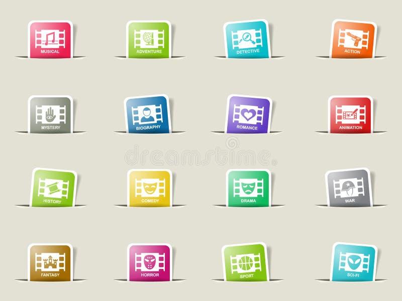 Cinema genre icon set. Cinema genre web icons on color paper bookmarks stock illustration