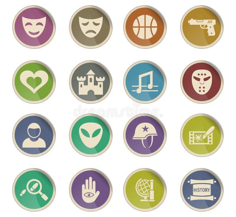 Cinema genre icon set. Cinema genre web icons on color paper labels vector illustration