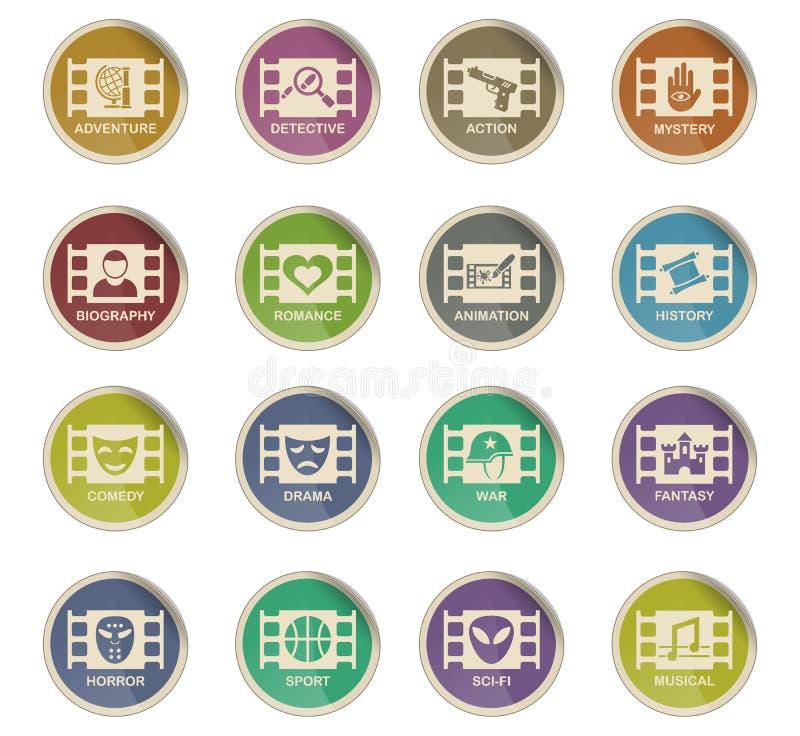 Cinema genre icon set. Cinema genre web icons on color paper labels stock illustration