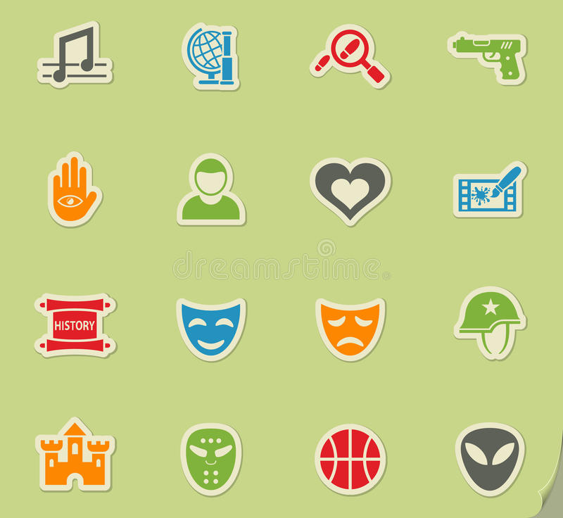 Cinema genre icon set. Cinema genre web icons on color paper stickers for user interface royalty free illustration