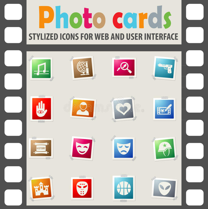 Cinema genre icon set. Cinema genre web icons on color photo cards for user interface royalty free illustration