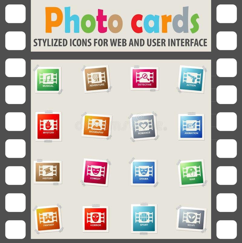 Cinema genre icon set. Cinema genre web icons on color photo cards for user interface vector illustration
