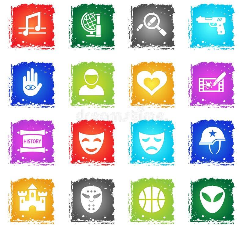 Cinema genre icon set. Cinema genre web icons in grunge style for user interface design royalty free illustration