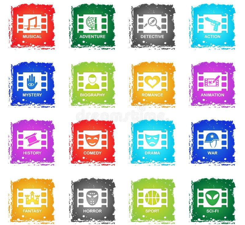 Cinema genre icon set. Cinema genre web icons in grunge style for user interface design vector illustration
