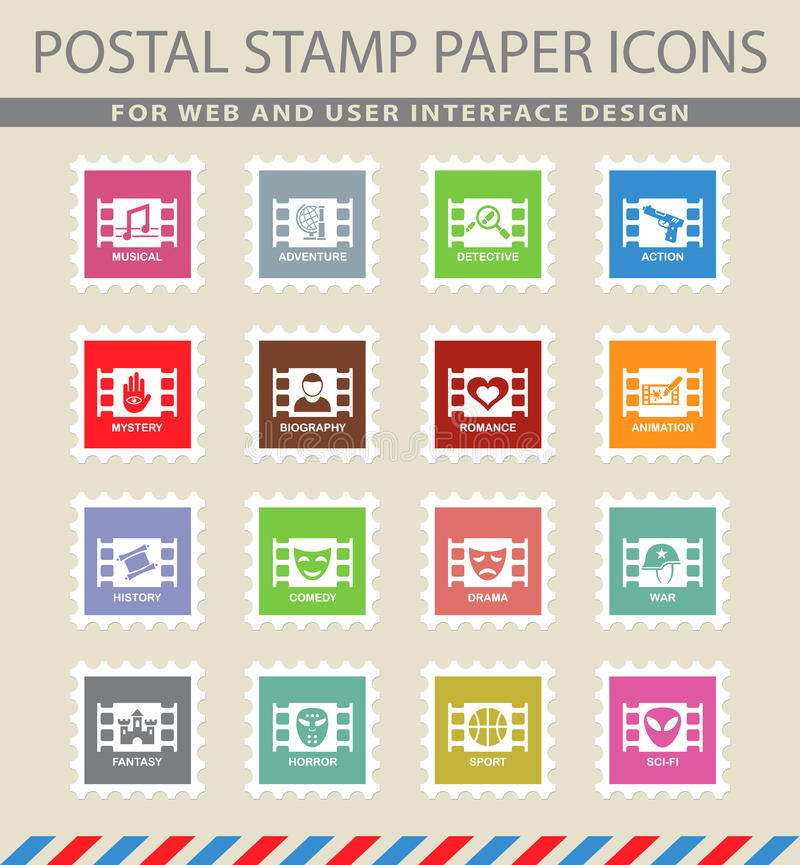 Cinema genre icon set. Cinema genre web icons on the postage stamps royalty free illustration
