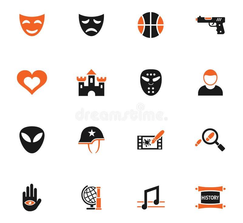 Cinema genre icon set. Cinema genre web icons for user interface design royalty free illustration