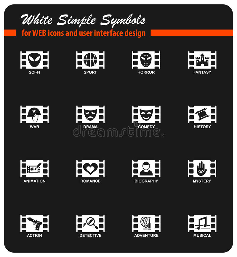Cinema genre icon set. Cinema genre white simple symbols for web icons and user interface design royalty free illustration