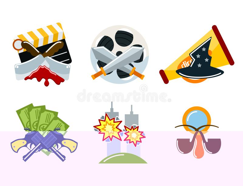 Cinema genre icons set cinematography flat entertainment comedy drama thriller movie production symbol vector. Illustration. Film motion picture cine movies royalty free illustration
