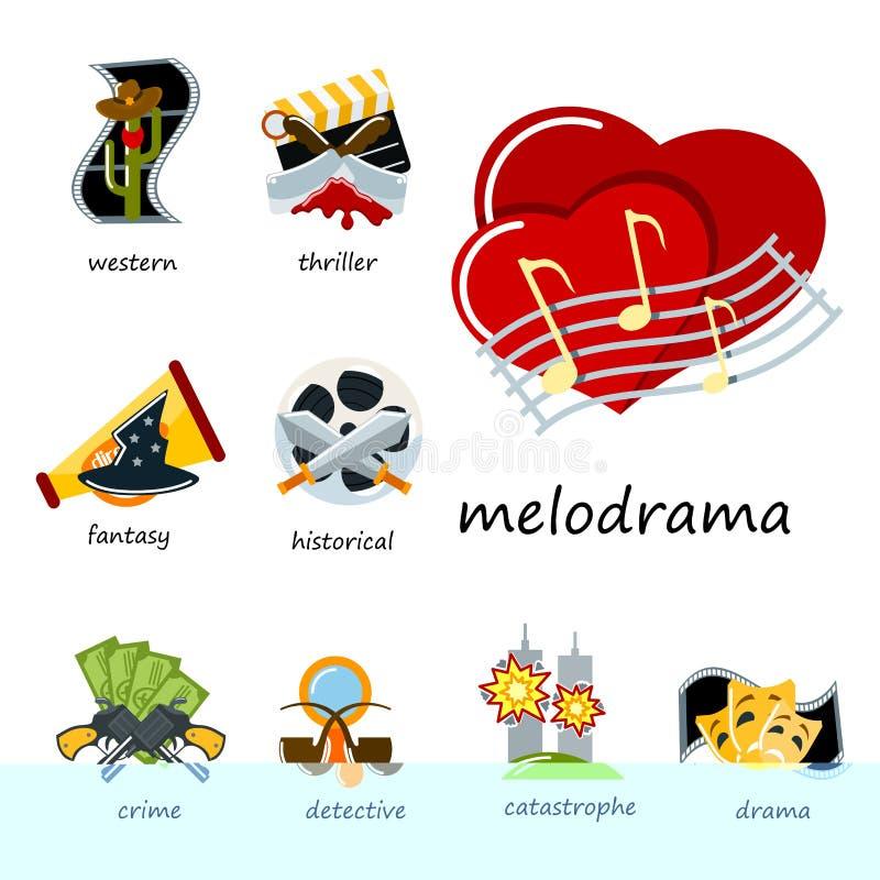 Cinema genre icons set cinematography flat entertainment comedy drama thriller movie production symbol vector royalty free illustration