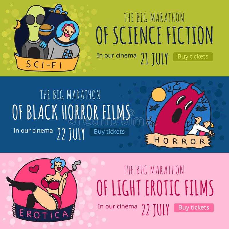 Cinema Genres Banners. Cinema genres 3 funny colorful horizontal banners with science fiction horror and erotic movies isolated vector illustration royalty free illustration