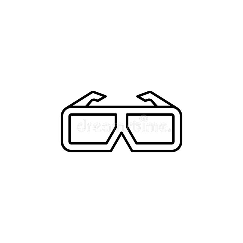 cinema, glasses, 3d icon. Simple thin line, outline vector of movie, cinema, film, screen, flicks icons for UI and UX, website or vector illustration