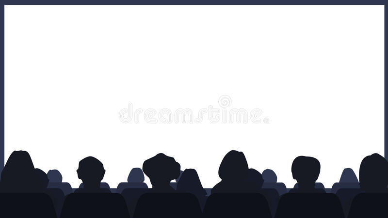 Cinema Hall with the audience and the screen. Background Vector vector illustration