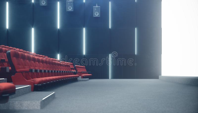 Cinema hall with blank screen and empty seats. Modern design with striking lighting, neon lighting. Audio system on the vector illustration