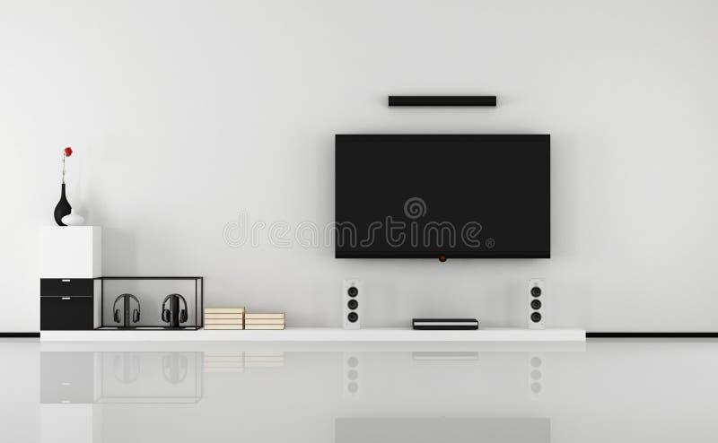 Cinema home preto e branco ilustração stock