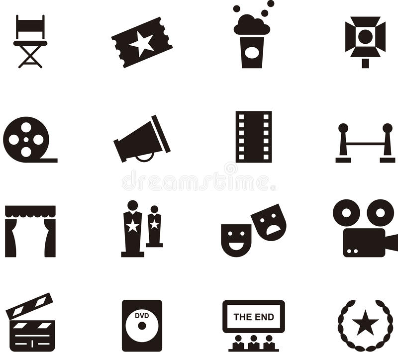 Cinema icon set. Set of black and white flat glyph icons relating to movies and cinema stock illustration
