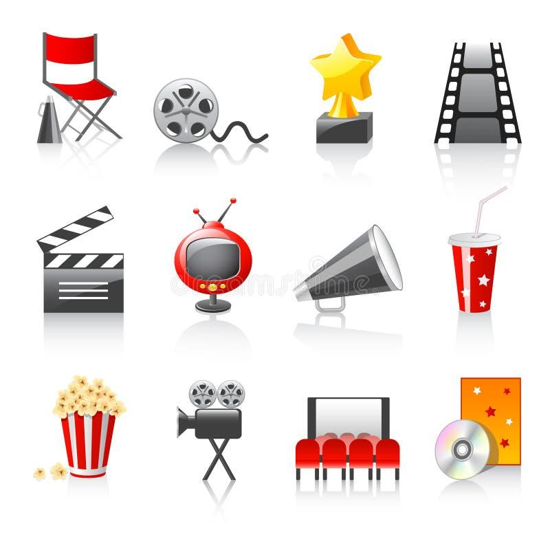 Cinema icons. Set of 12 cinema icons on white background
