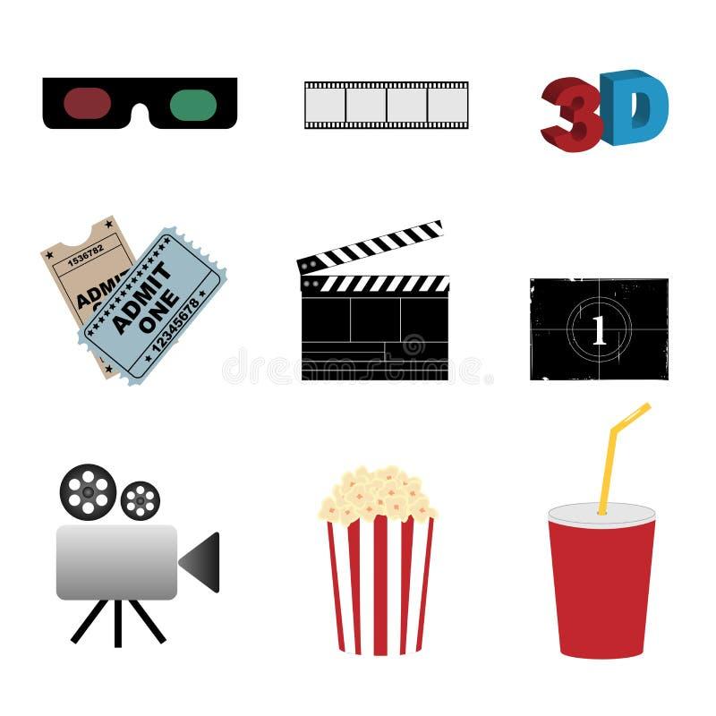 Cinema icons. Set of nine cinema icons isolated on white background.EPS file available