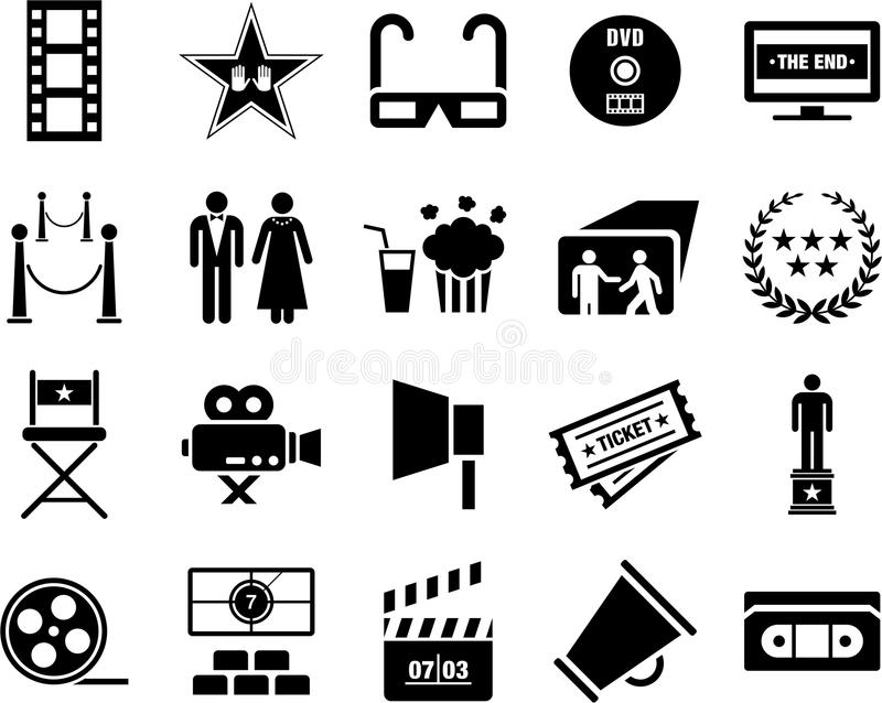 Download Cinema icons stock vector. Illustration of dress, image - 23933285