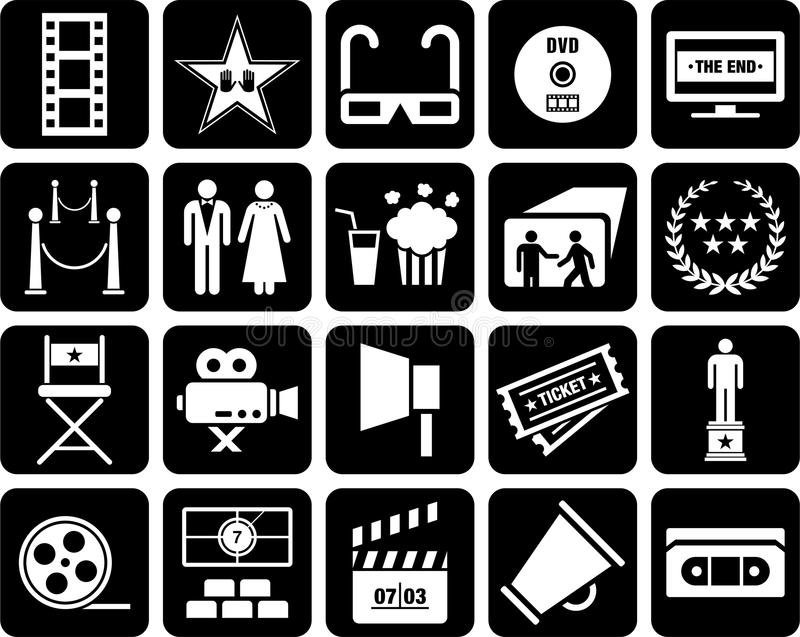 Cinema icons. Some icons related with cinema royalty free illustration