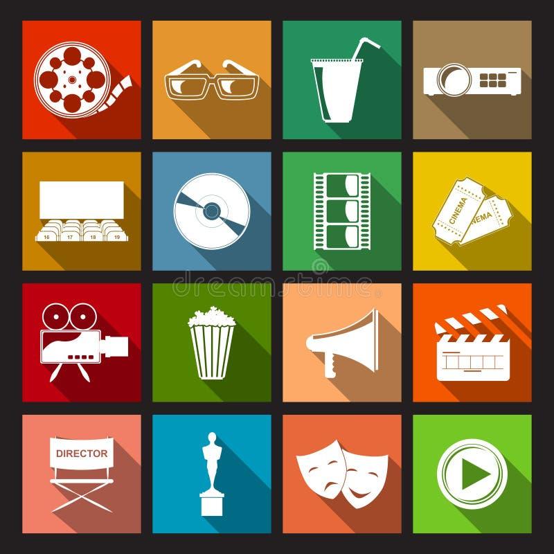 Cinema Icons Flat. Cinema movie entertainment film flat icons set isolated vector illustration royalty free illustration