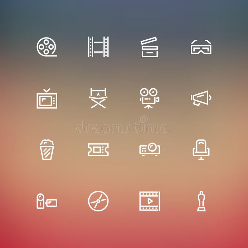 Cinema Icons. In Outline style vector illustration