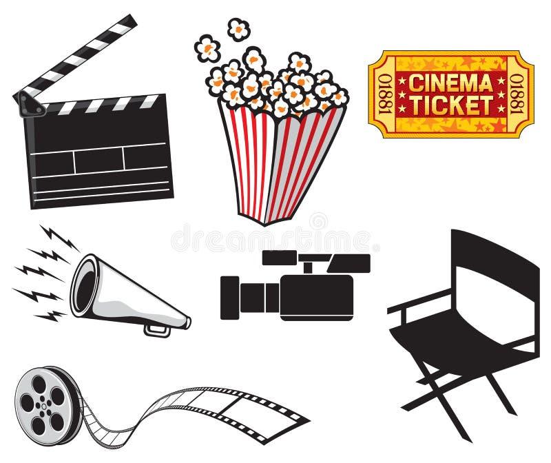 Cinema icons. Cinema projector and film strip, popcorn in a striped tub, cinema clapboard, movie clapper board, video camera, cinema ticket, movie director chair stock illustration