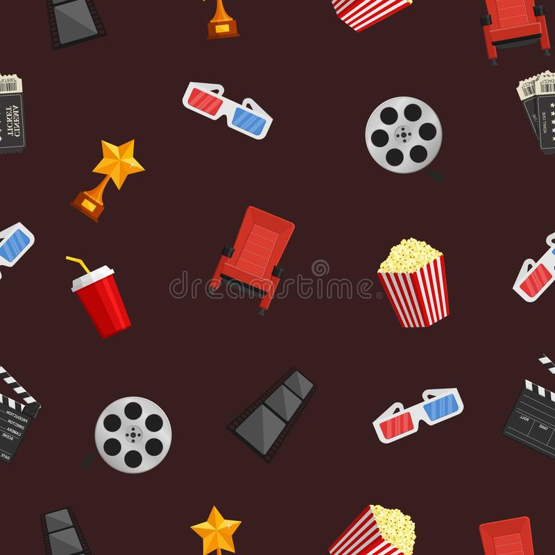 Cinema icons seamless pattern on brown background. stock illustration