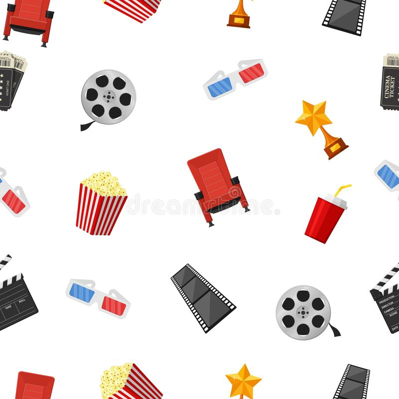 Cinema icons seamless pattern on white background. royalty free illustration