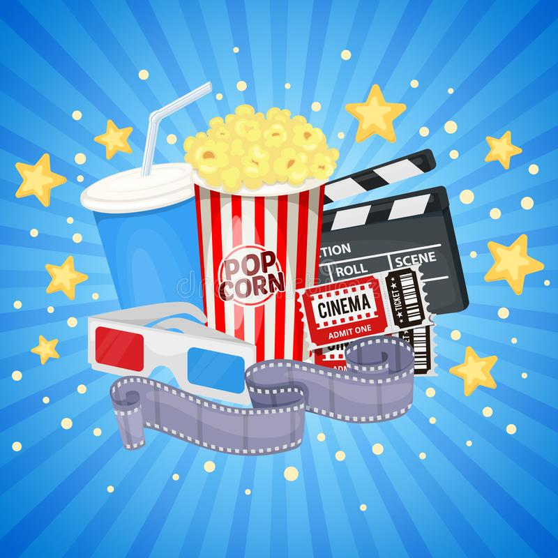 Cinema icons set. Background with cinema icons - clapper board, film reel, popcorn, cola, tickets and 3D glasses. Vector vector illustration