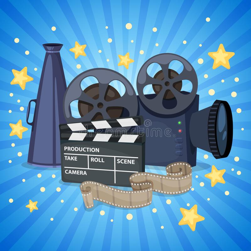 Cinema icons set. Background with cinema icons - movie projector, clapper board, film reel and megaphone. Vector stock illustration