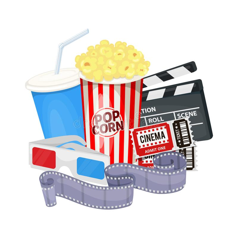 Cinema icons set. With clapper board, film reel, popcorn, cola, tickets and 3D glasses. Vector royalty free illustration