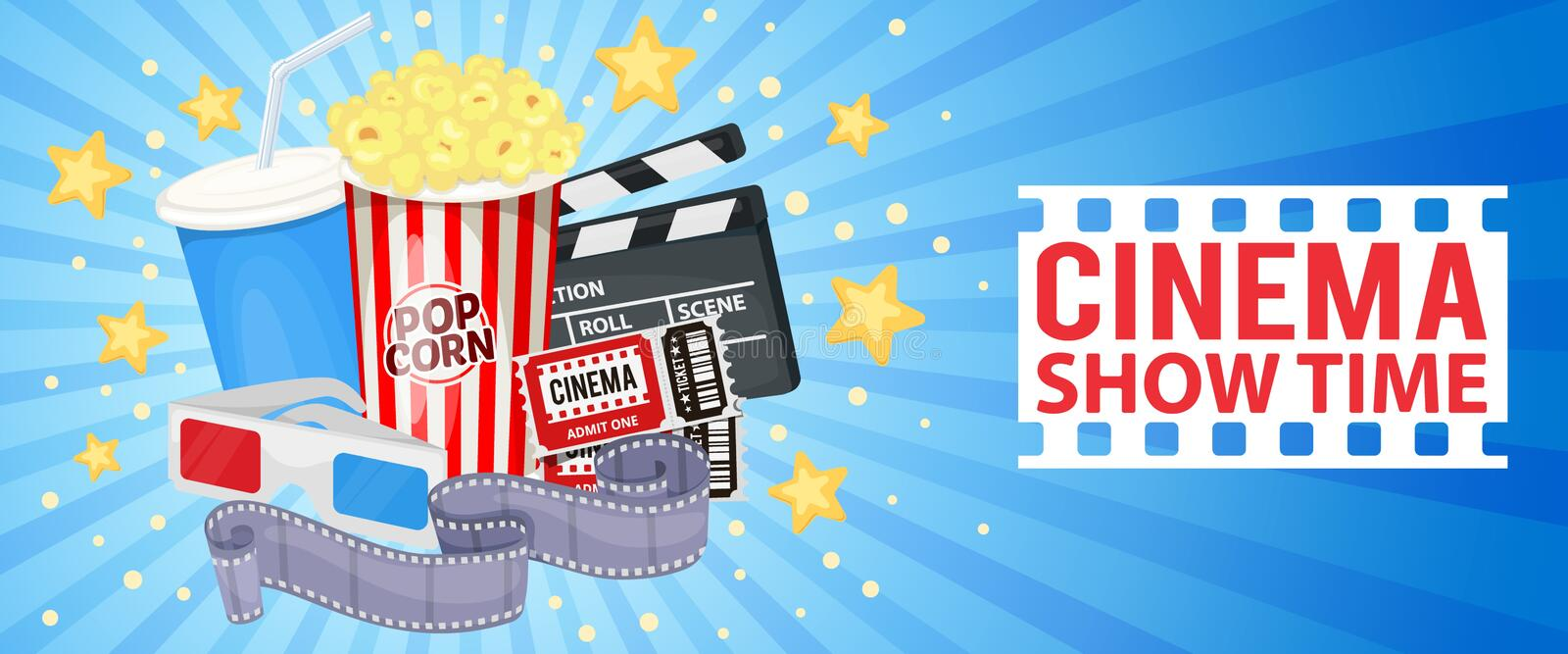 Cinema icons set. Horizontal banner with cinema icons - clapper board, film reel, popcorn, cola, tickets and 3D glasses. Vector royalty free illustration