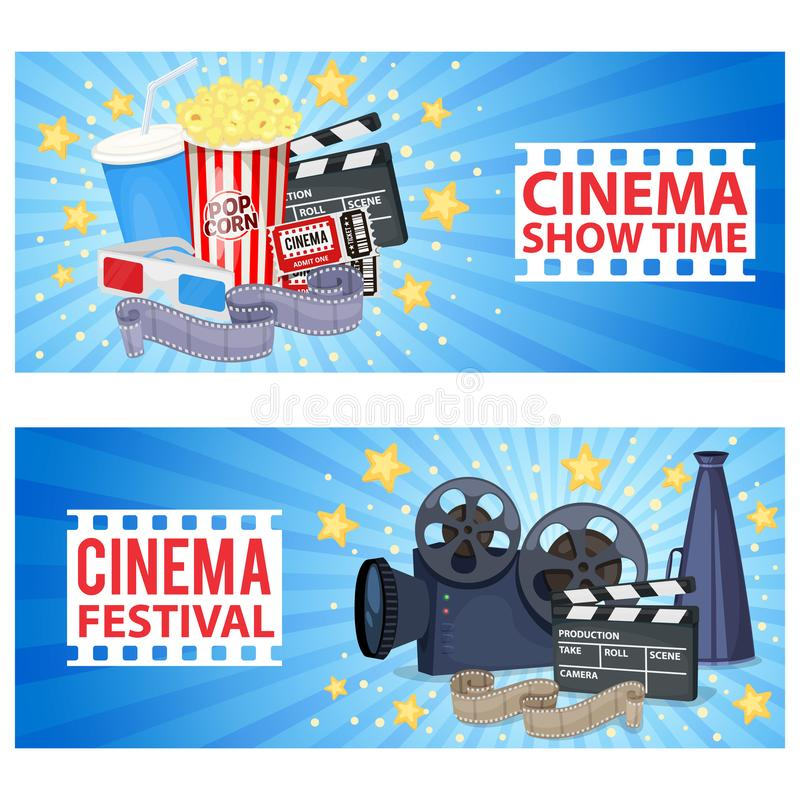 Cinema icons set. Horizontal banners with cinema icons - movie projector, clapper board, film reel, popcorn, tickets and 3D glasses. Vector vector illustration
