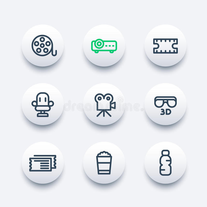 Cinema icons set in line style. Film reel, projector, movie in 3d, tickets, seat, popcorn bucket vector illustration